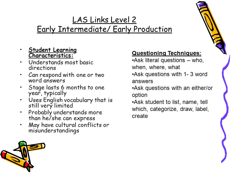 LAS Links Level 2 Early Intermediate/ Early Production