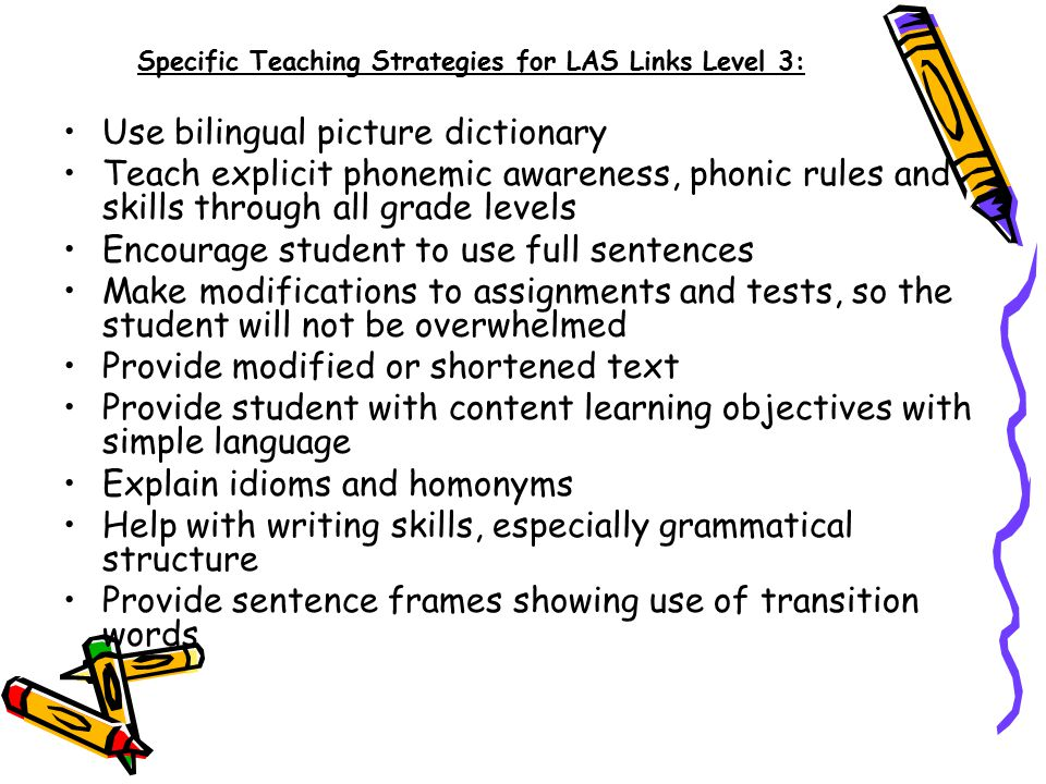Specific Teaching Strategies for LAS Links Level 3: