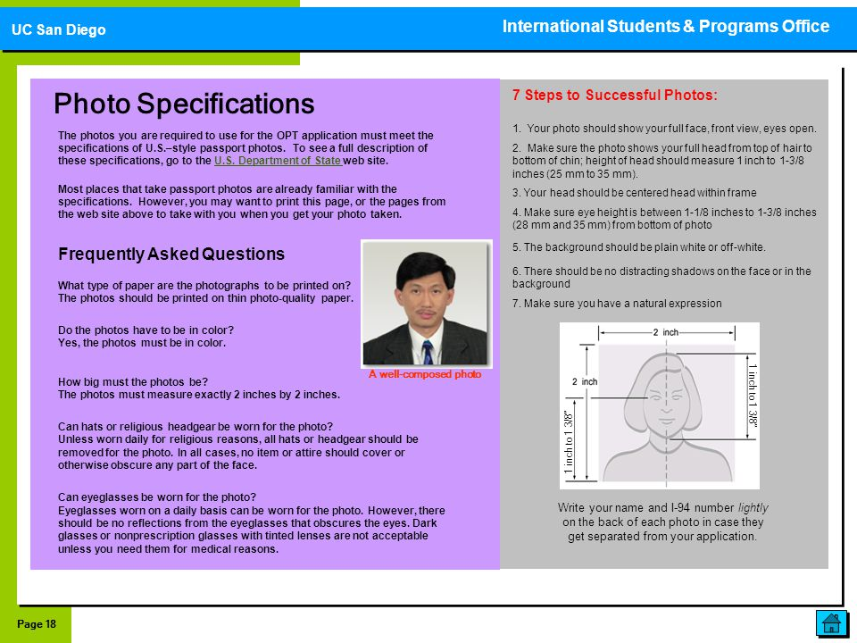 Photo Specifications International Students & Programs Office