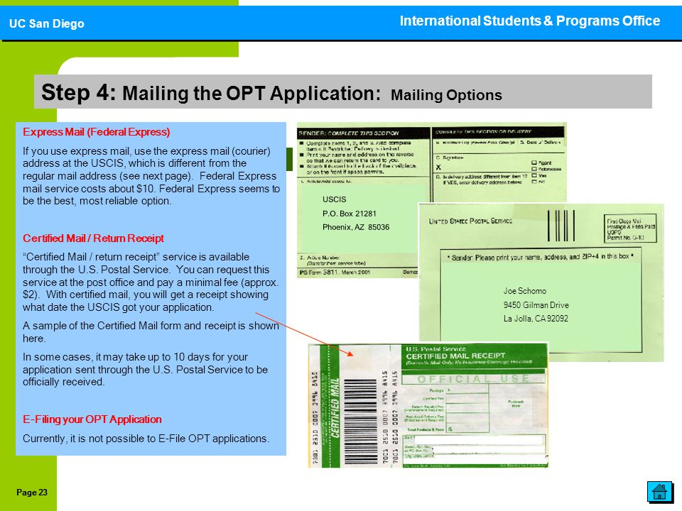 Step 4: Mailing the OPT Application: Mailing Options