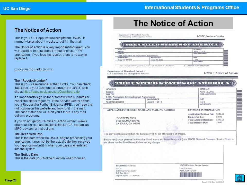The Notice of Action International Students & Programs Office