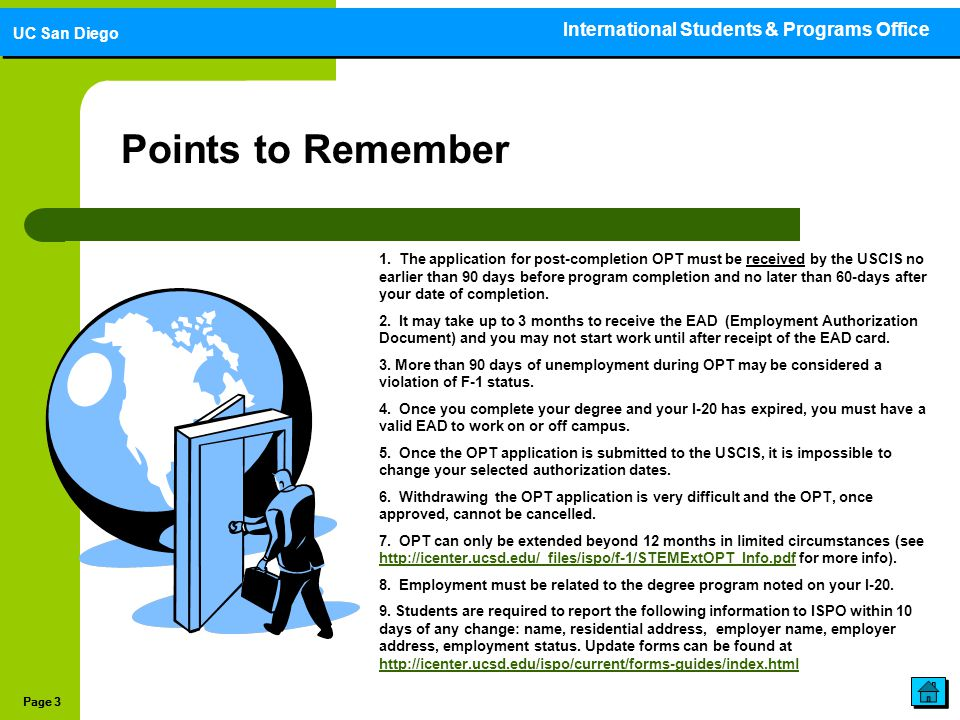 Points to Remember International Students & Programs Office