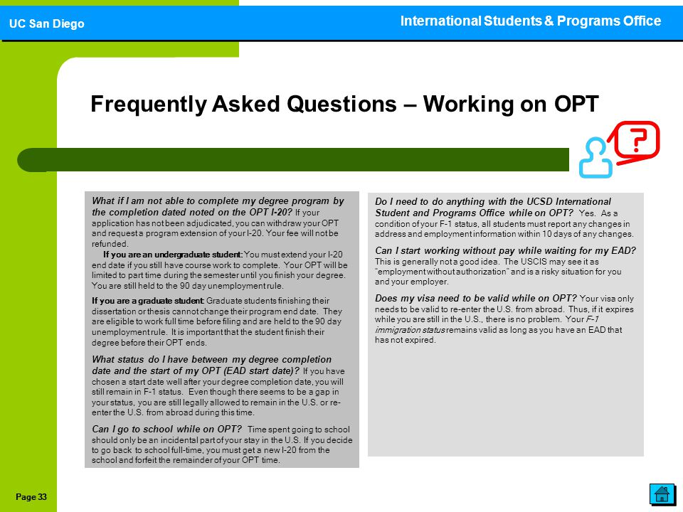 Frequently Asked Questions – Working on OPT