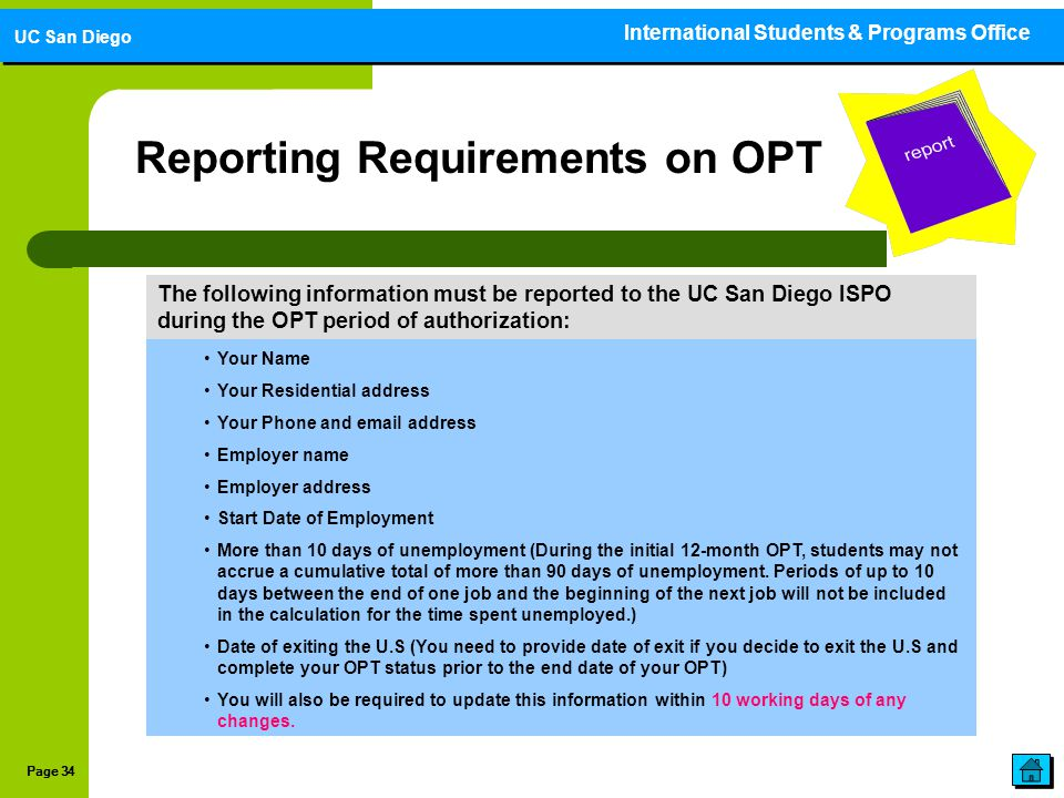 Reporting Requirements on OPT