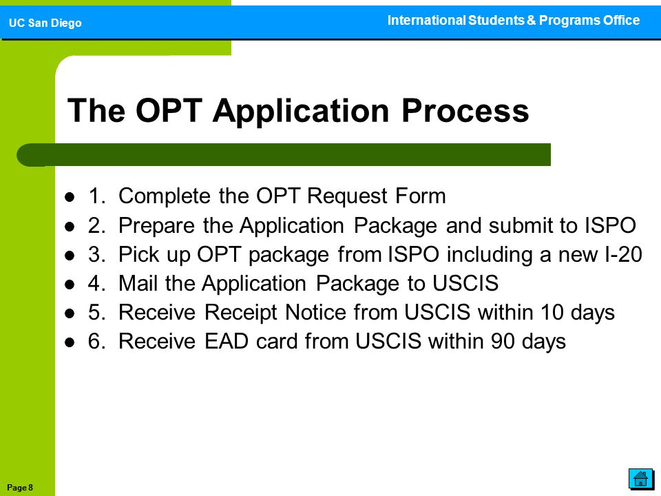 Optional Practical Training (OPT) Application Guide - ppt download