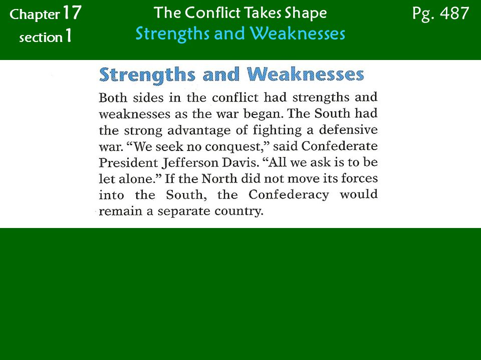 The Conflict Takes Shape Strengths and Weaknesses