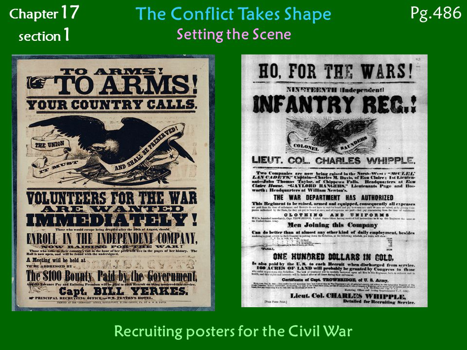 The Conflict Takes Shape Recruiting posters for the Civil War