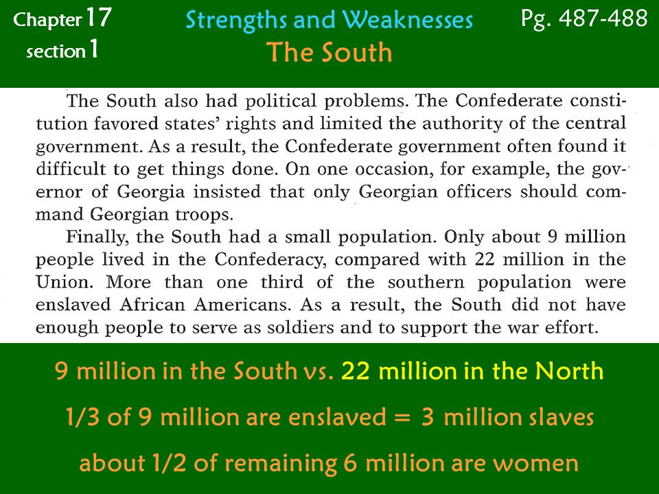 The South Strengths and Weaknesses