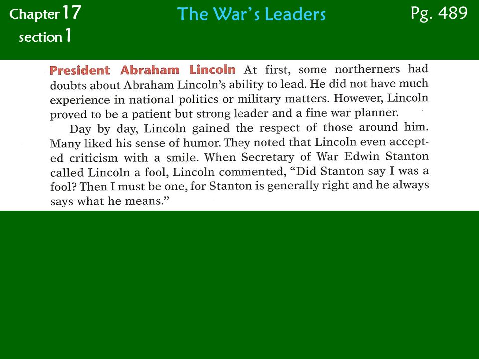 The War's Leaders Chapter 17 section 1 Pg. 489