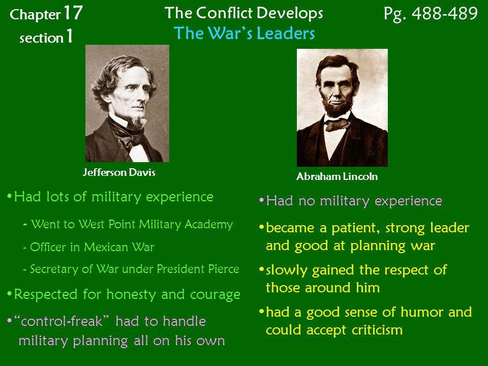 Pg. 488-489 The War's Leaders The Conflict Develops