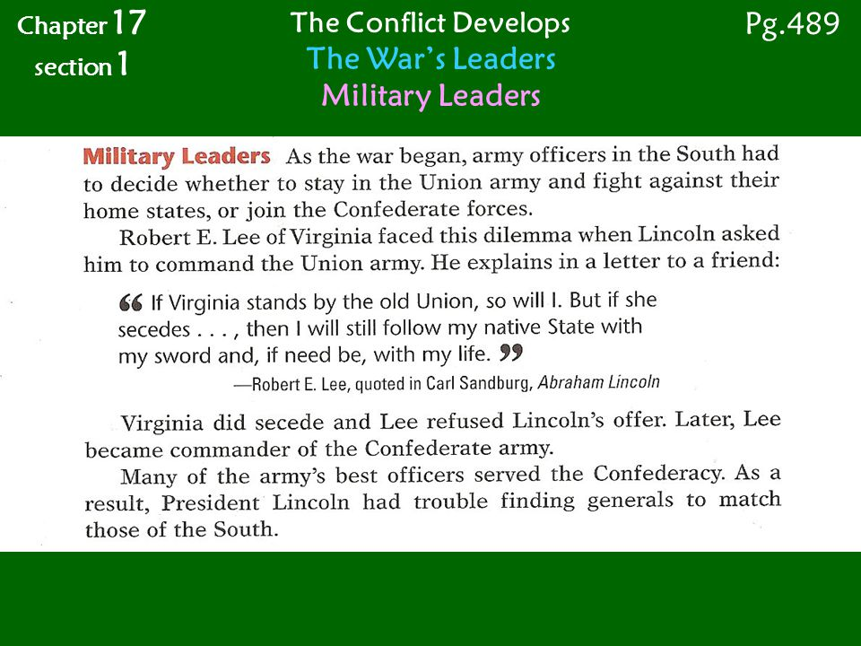 The War's Leaders Military Leaders