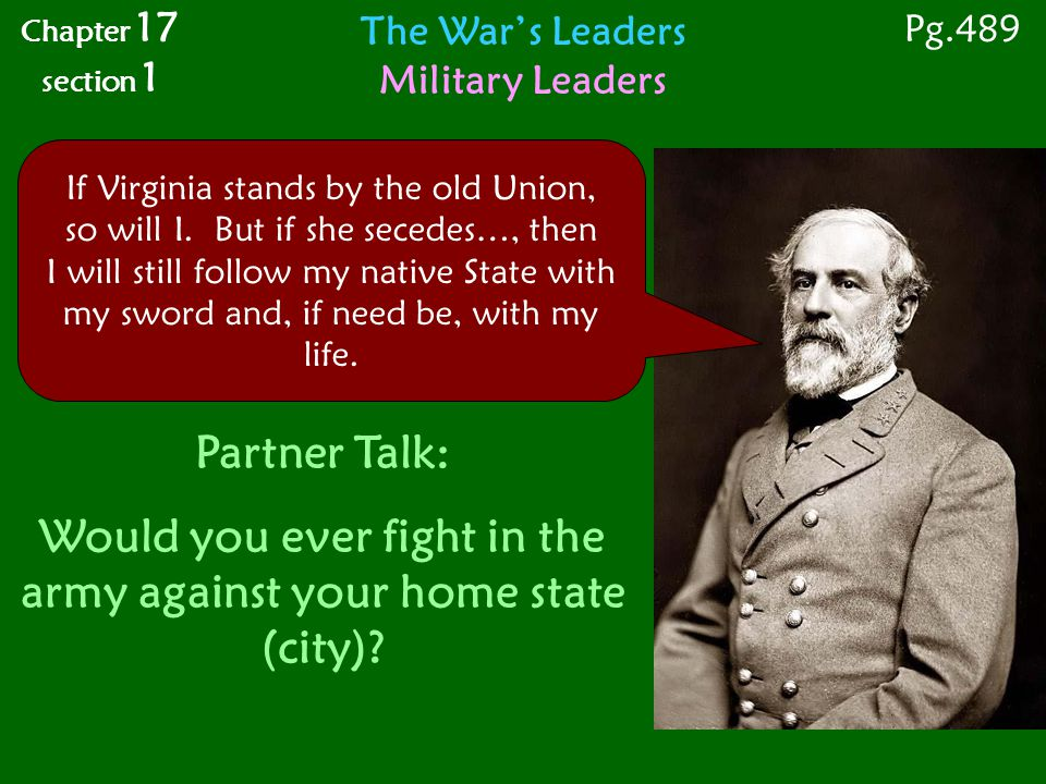 Would you ever fight in the army against your home state (city)