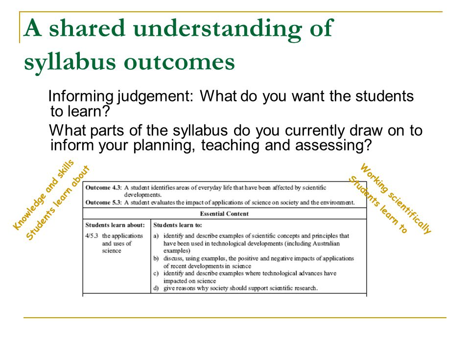 A shared understanding of syllabus outcomes