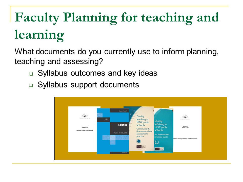 Faculty Planning for teaching and learning