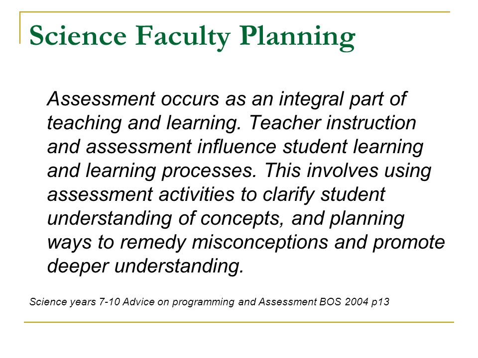 Science Faculty Planning