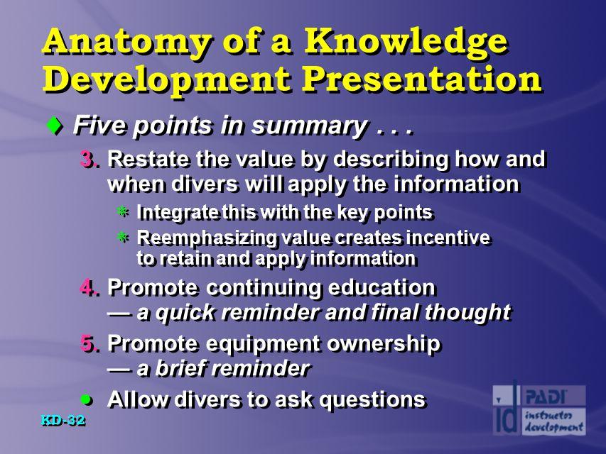 Anatomy of a Knowledge Development Presentation