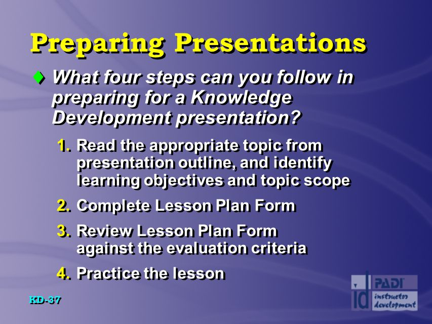 Preparing Presentations