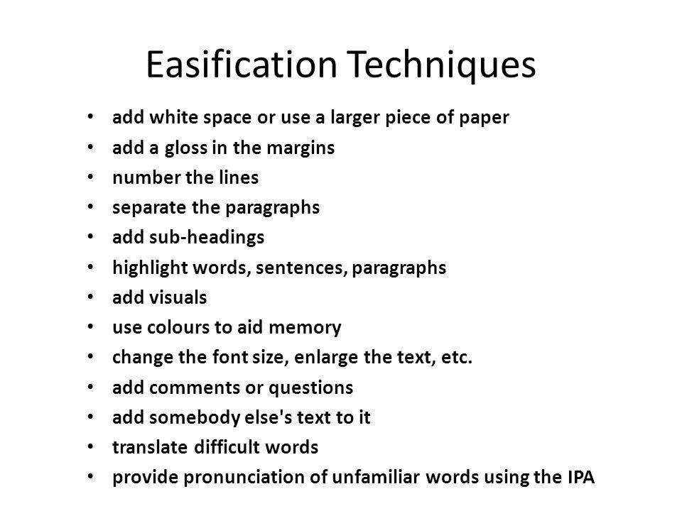 Easification Techniques