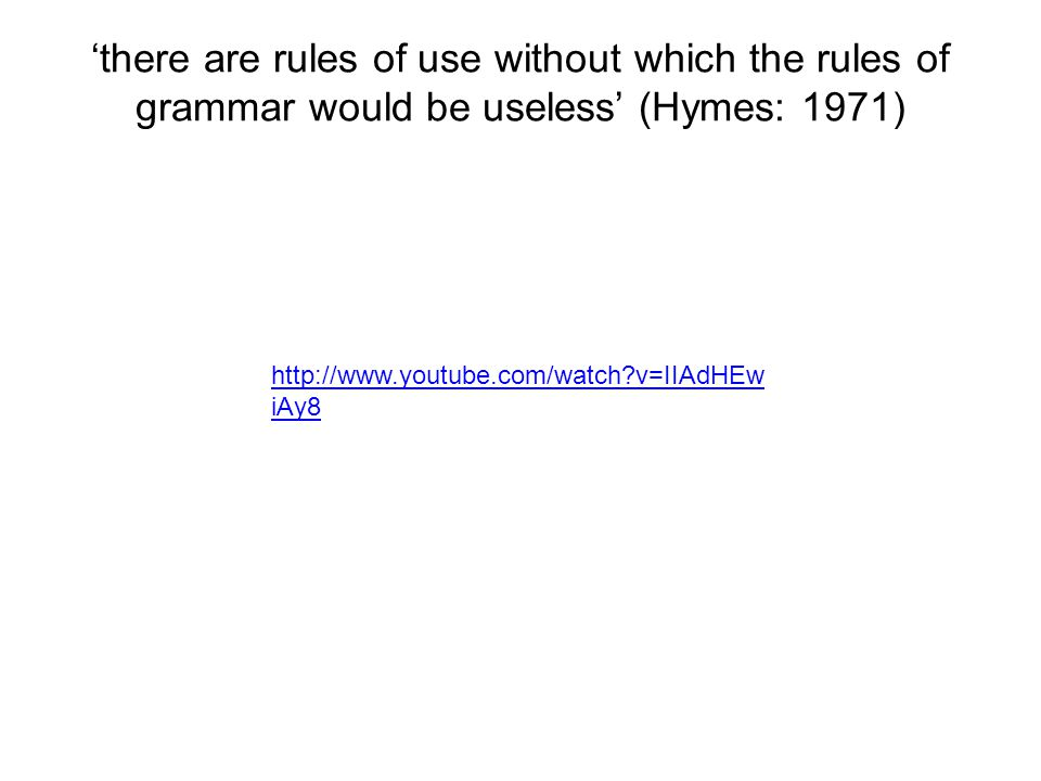 'there are rules of use without which the rules of grammar would be useless' (Hymes: 1971)