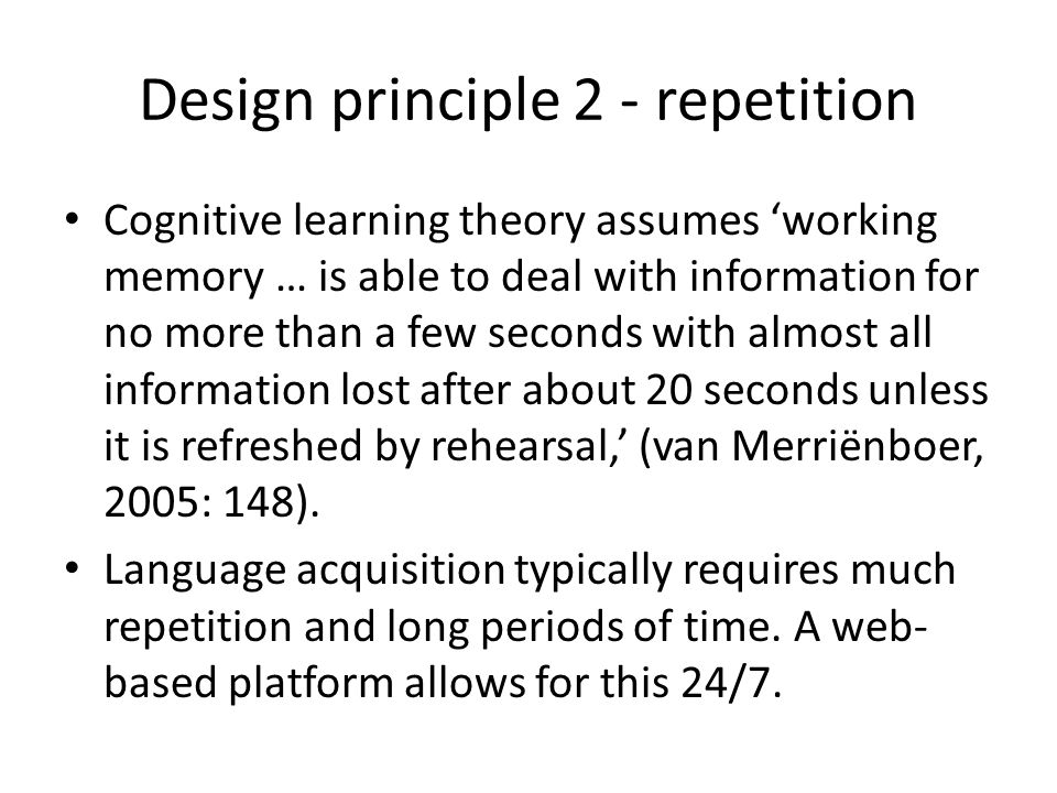 Design principle 2 - repetition