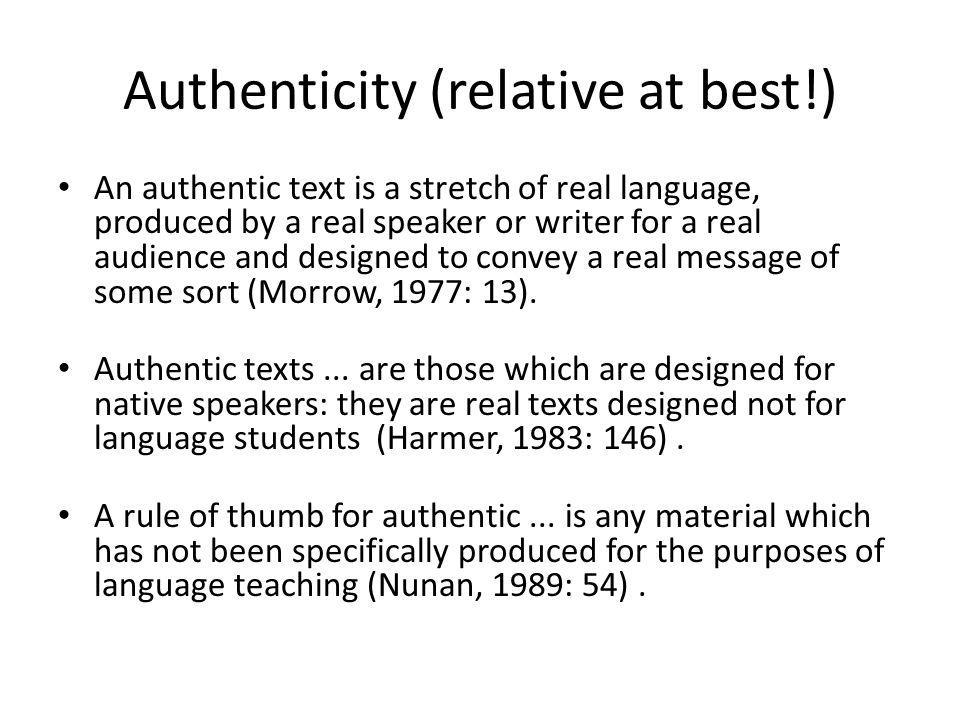 Authenticity (relative at best!)