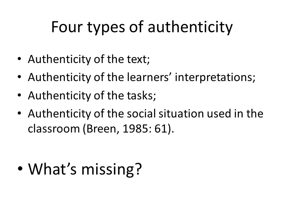 Four types of authenticity