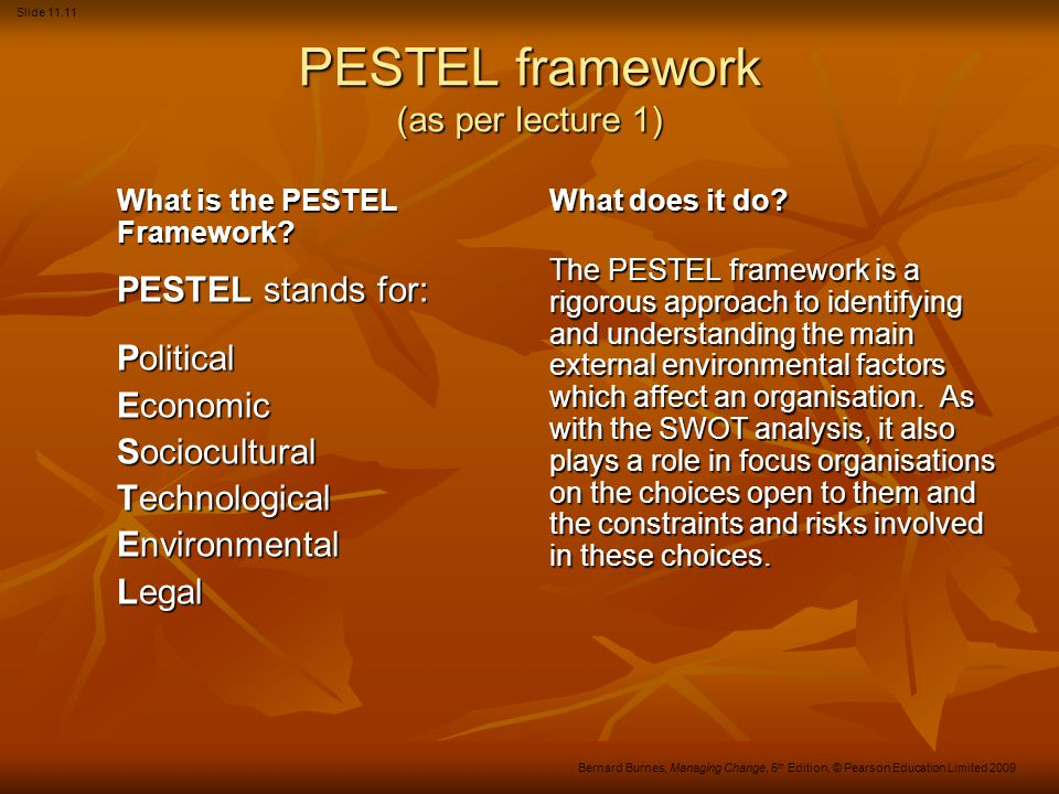 PESTEL framework (as per lecture 1)