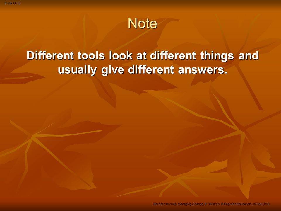 Note Different tools look at different things and usually give different answers.