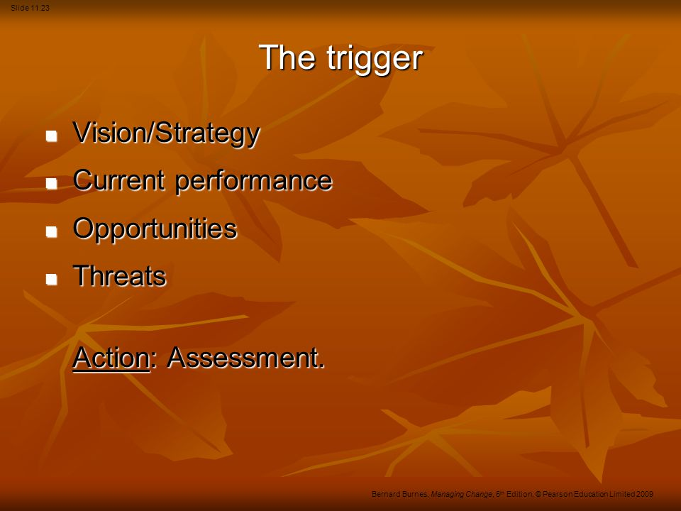 The trigger Vision/Strategy Current performance Opportunities