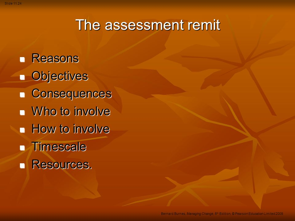 The assessment remit Reasons Objectives Consequences Who to involve