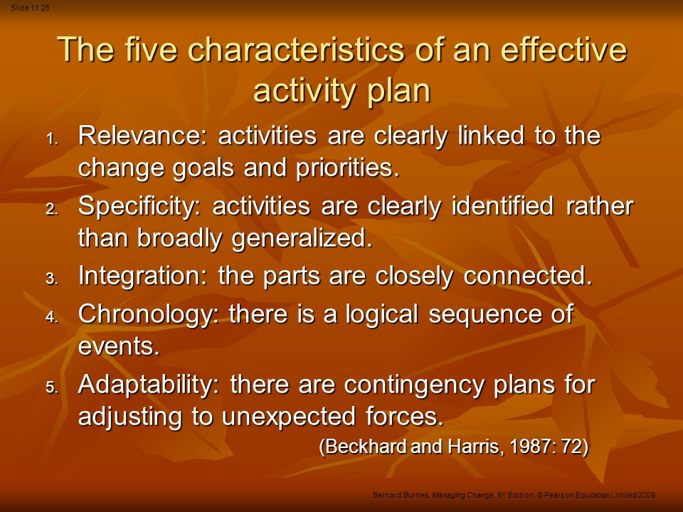 The five characteristics of an effective activity plan