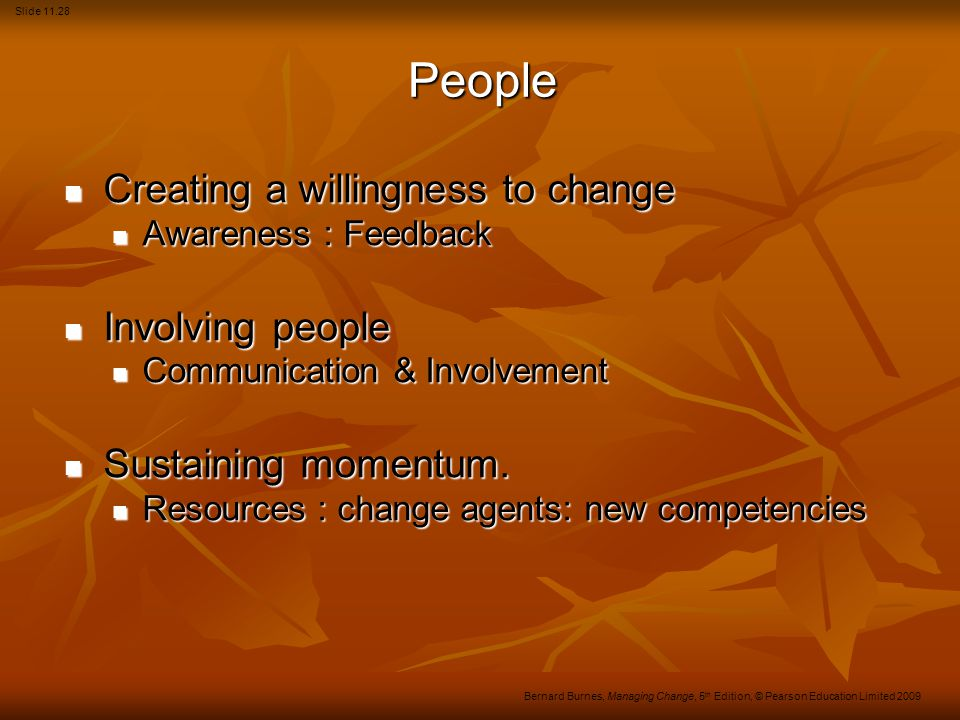 People Creating a willingness to change Involving people