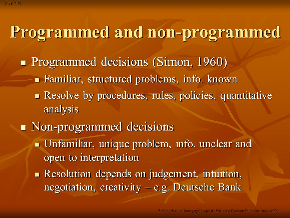 Programmed and non-programmed