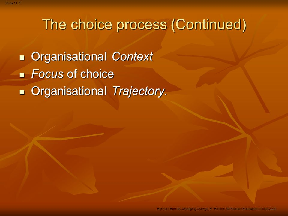 The choice process (Continued)