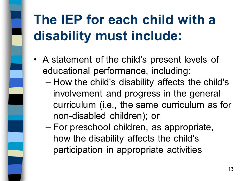The IEP for each child with a disability must include:
