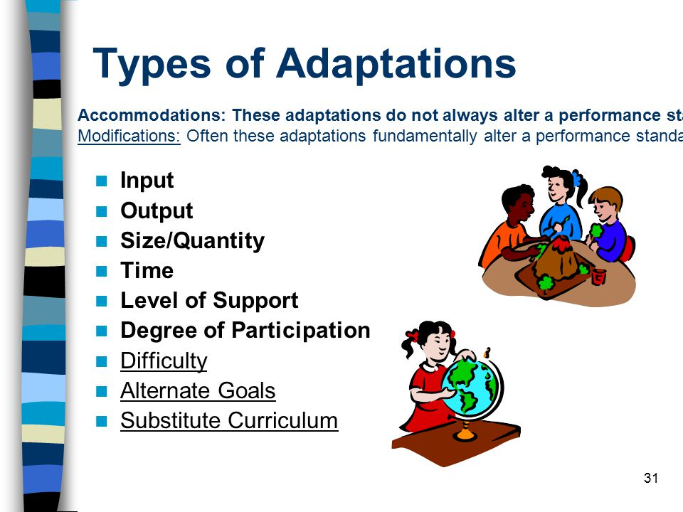 Types of Adaptations Input Output Size/Quantity Time Level of Support