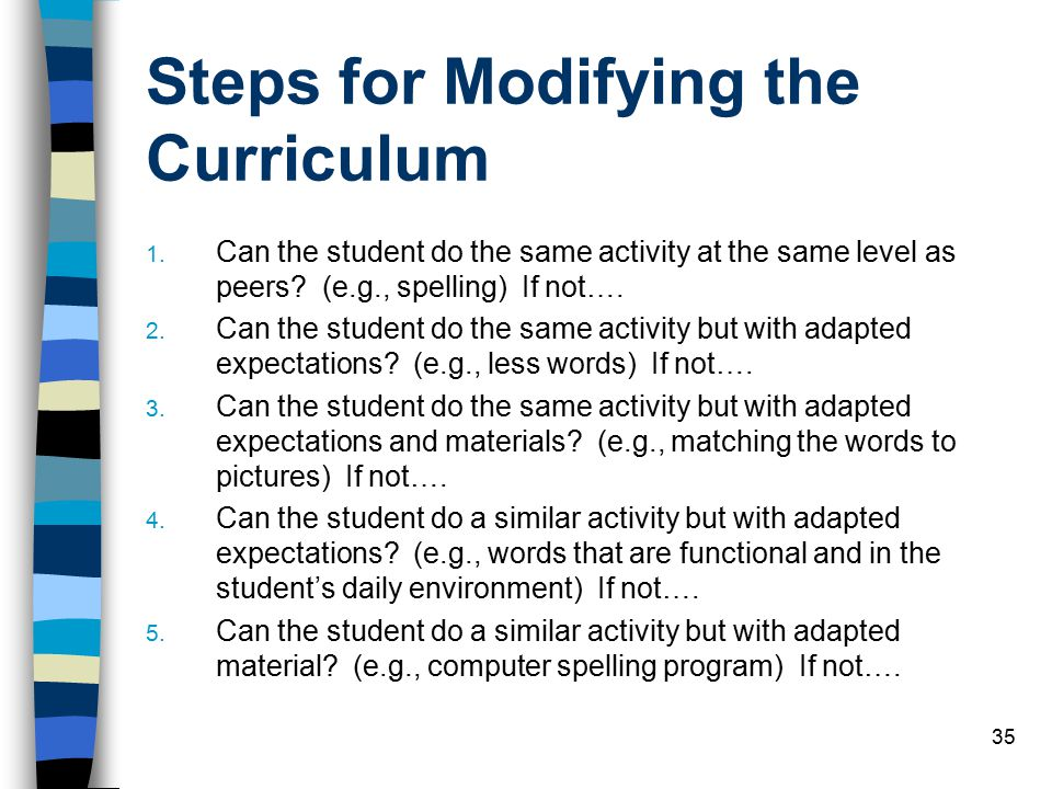 Steps for Modifying the Curriculum