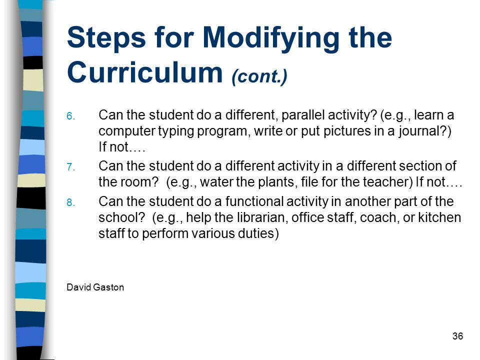 Steps for Modifying the Curriculum (cont.)