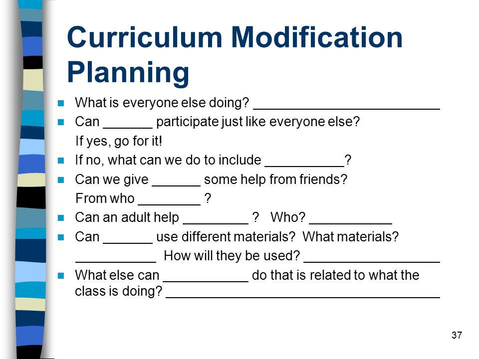 Curriculum Modification Planning