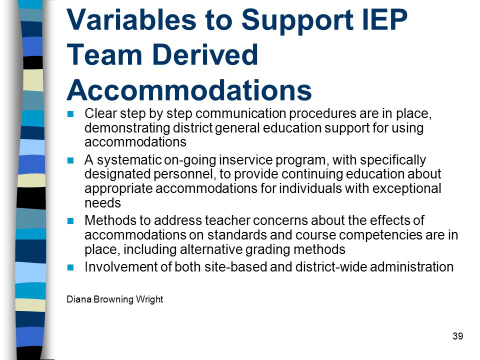 Variables to Support IEP Team Derived Accommodations