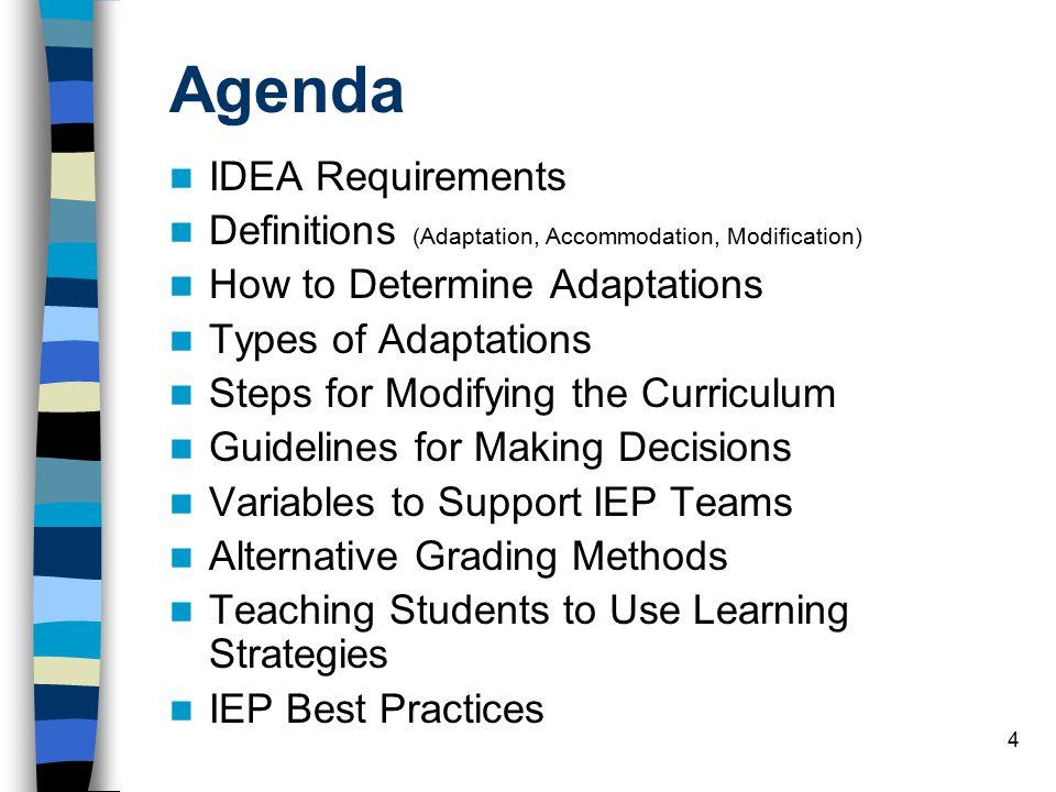 Agenda IDEA Requirements