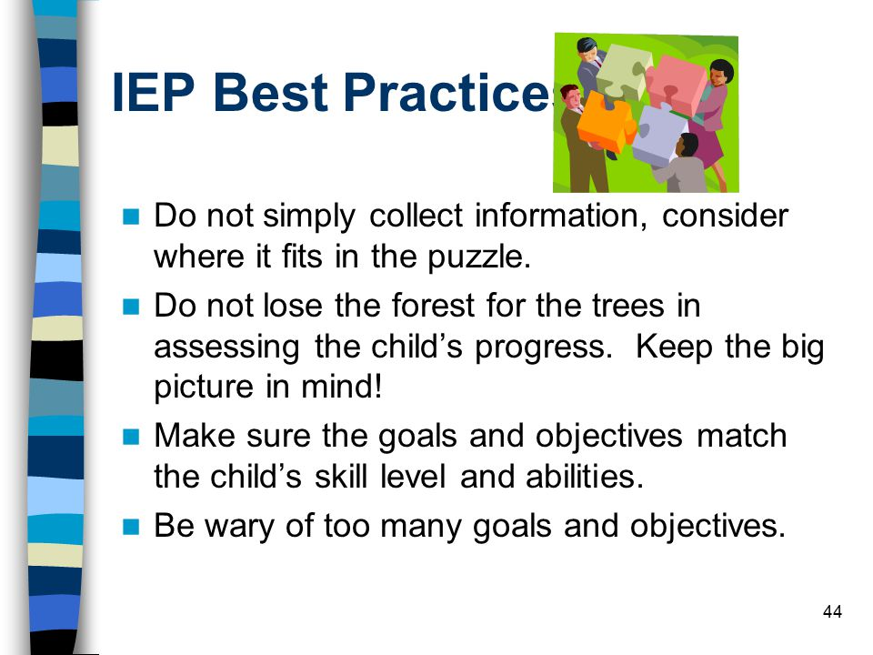 IEP Best Practices Do not simply collect information, consider where it fits in the puzzle.