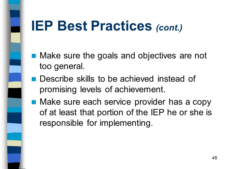 IEP Best Practices (cont.)
