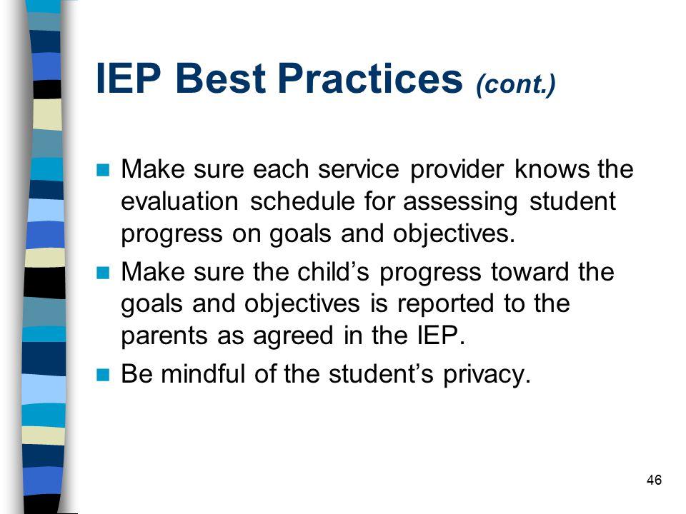 IEP Best Practices (cont.)