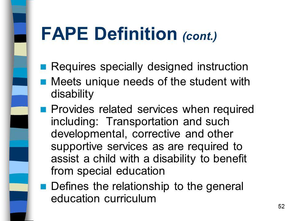 FAPE Definition (cont.)