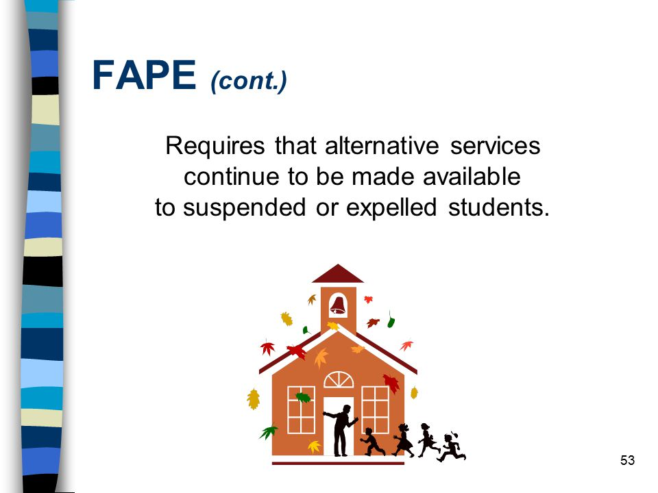 FAPE (cont.) Requires that alternative services continue to be made available to suspended or expelled students.