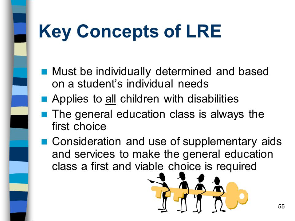 Key Concepts of LRE Must be individually determined and based on a student's individual needs. Applies to all children with disabilities.