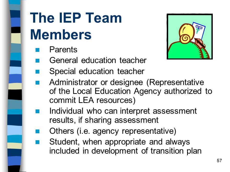 The IEP Team Members Parents General education teacher