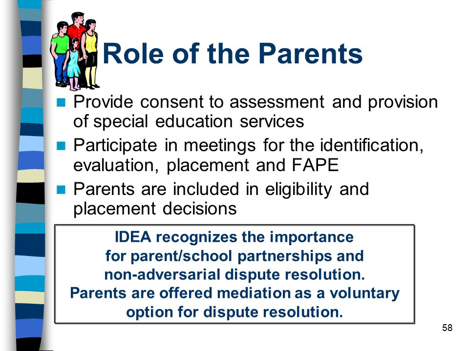 Role of the Parents Provide consent to assessment and provision of special education services.