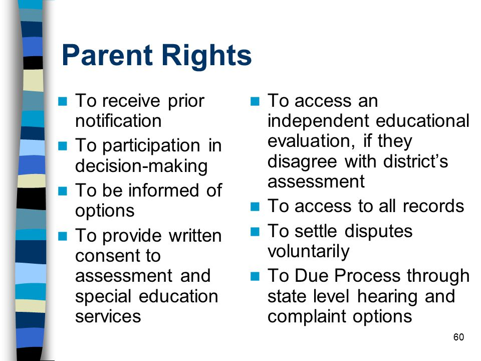 Parent Rights To receive prior notification